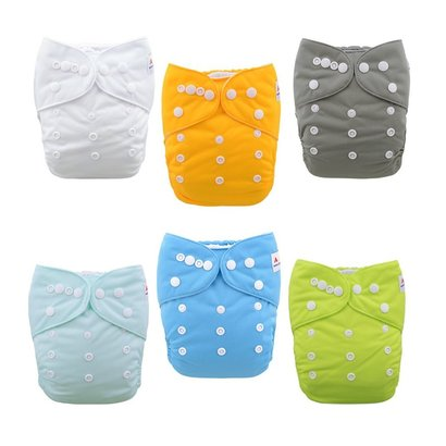 alvababy 6bm98 baby cloth diapers one size adjustable washable reusable for baby girls and boys 6 pack with 12 inserts