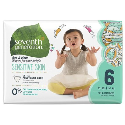 seventh generation free and clear baby diapers for sensitive skin with animal print size 6, 20 count