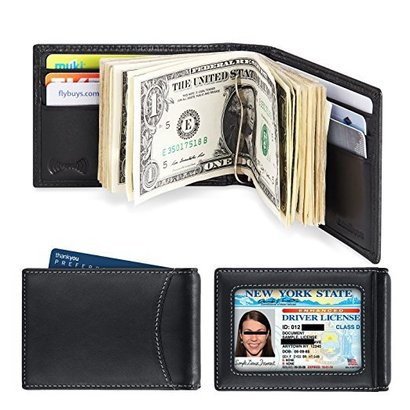 amelleon rfid blocking leather front pocket bifold wallet with money clip for men