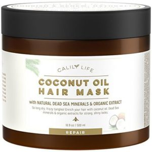 calily life coconut oil hair mask with natural dead sea minerals and organic extract for strong, shiny hair