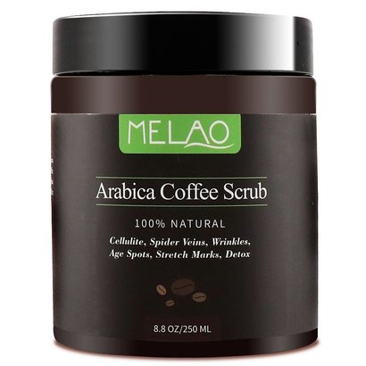 melao pure arabica coffee scrub 100% natural exfoliating coffee body scrub for cellulite, spider veins, wrinkles, age spots, stretch marks, detox