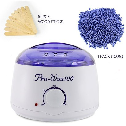 pro-wax 100 wax warmer hair removal waxing kit electric hot wax heater for facial and bikini area with hard wax beans and wax applicator sticks