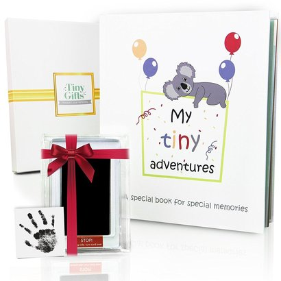 tiny gifts first year baby memory book record your child first 5 years with ink pad and gift box for newborn boy or girl