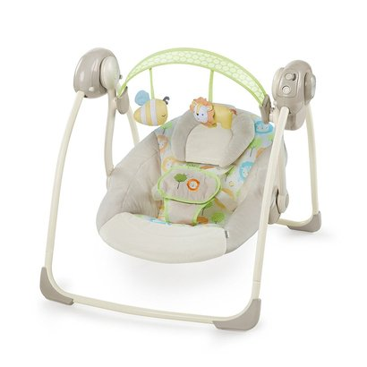 ingenuity soothe 'n delight portable swing with truespeed technology and 6 melodies, sunny snuggles