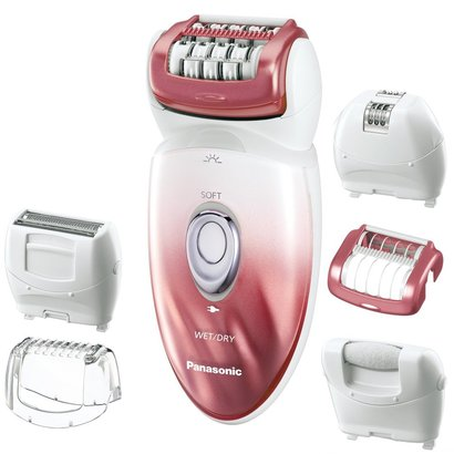 multi-functional panasonic es-ed90-p wetdry epilator and shaver, with six attachments for hair removal and foot care