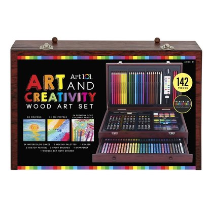 art 101 142 piece art and creativity set in wooden case