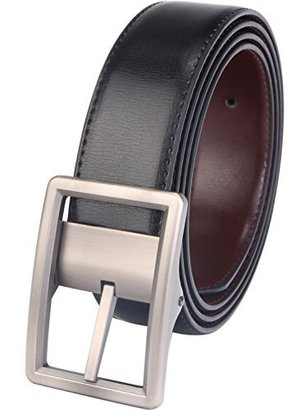 "beltox fine dress leather belt for men in gift box with reversible 1.25"" wide rotated buckle"