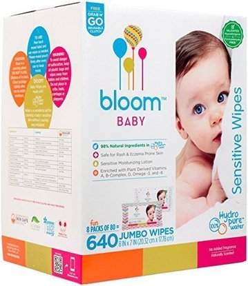 bloom baby sensitive wipes made of natural and safe ingredients for baby's sensitive skin 640 jumbo wipes 8 packs of 80