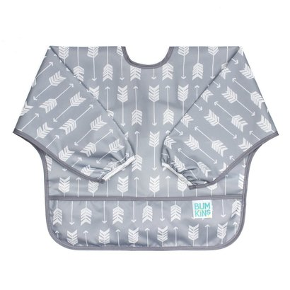 bumkins waterproof sleeved full coverage bib with catch-all pocket for babies of 6 to 24 months