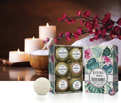 divine botanics bath bombs with essential oil blends 6 xl USA made lush bath bombs kit