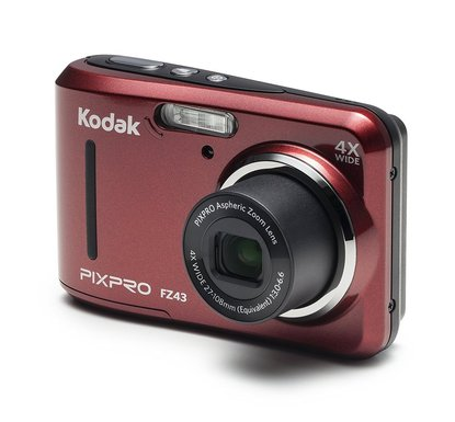 "kodak pixpro friendly zoom fz43 16 mp hd video digital camera with 4X optical zoom and 2.7"" lcd screen in red"
