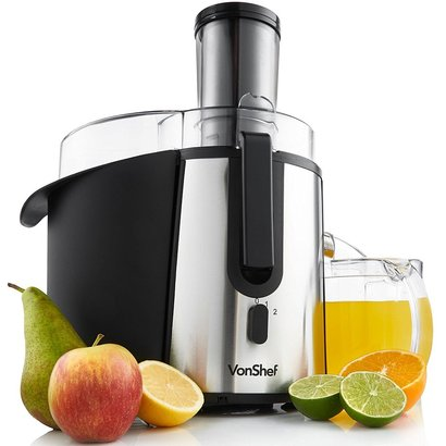 vonshef 700w wide mouth whole fruit juicer with 2 speed, 70oz detachable pulp container and cleaning brush