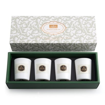 anjou scented candle 4 pack gift set made of biodegradable soy wax and cotton wick includes pear and freesia, blackberry and bay, orange and peppermint candles