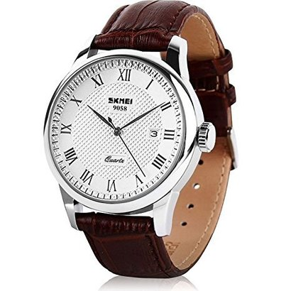 aposon analog quartz movement watch with roman number, calendar-date and 30 meters water resistant