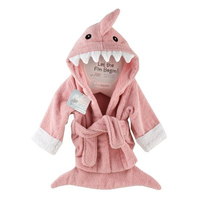 baby aspen 'let the fin begin' terry shark robe size 0-9 months