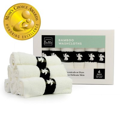 bamboo baby washcloths of 100% natural bamboo fibers superior softness for delicate skin 6 in pack