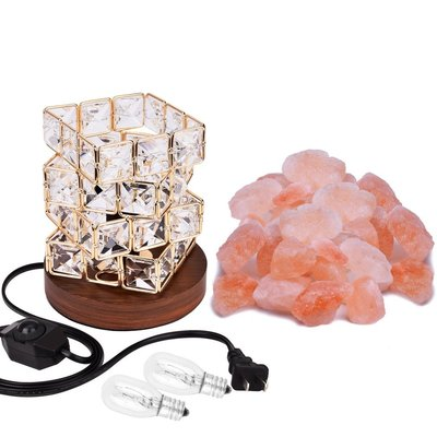 coowoo himalayan salt lamp with wood base, beautiful home decoration, gift idea for holidays