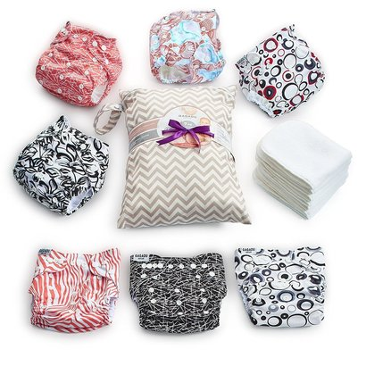 qaqadu set of 7 pocket cloth diapers and 7 super absorbent inserts for babies makes great baby shower gift