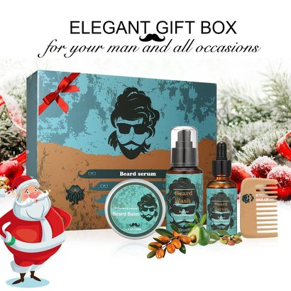 y.f.m. 4 piece beard styling and shaping gift set includes beard shampoo beard oil, beard balm and wooden comb christmas gift for men
