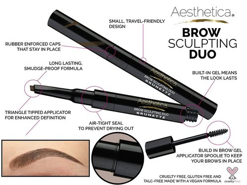aesthetica brow sculpting duo with build in brow gel for fuller and more lush brows long lasting smudge-proof formula