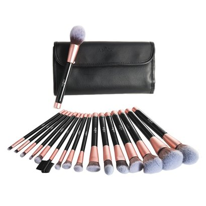 anjou 16 pieces premium makeup brush set of soft synthetic fiber with pu leather roll clutch