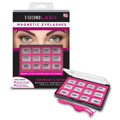 ''as seen on tv'' 3 second lash magnetic eyelashes includes application tweezers and magnetic carrying case