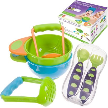 babieb baby food masher bowl set with training spoon and fork includes travel case