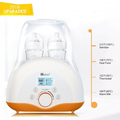 beelef lcd display double baby bottle warmer, bottle sterilizer and smart thermostat