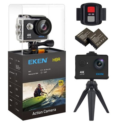 eken h9r 4k ultra hd wifi action camera with 2-inch lcd, waterproof to 100 feet, 170 wide angle lens, 12 mp photo includes mounting kit and two 1050mah batteries