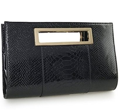 hoxis women's handbag classic crocodile pattern faux patent leather clutch with lightweight gold shoulder chain strap