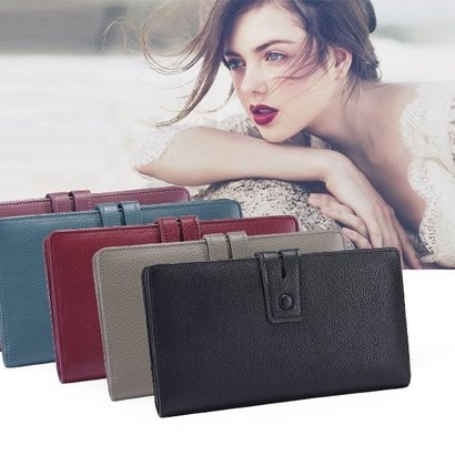 itslife large capacity leather checkbook wallet for women rfid blocking big fat wallet