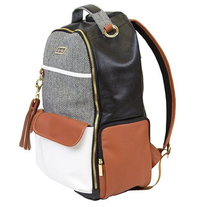itzy ritzy boss backpack diaper bag with 17 pockets includes stroller straps and changing pad in coffee and cream colors