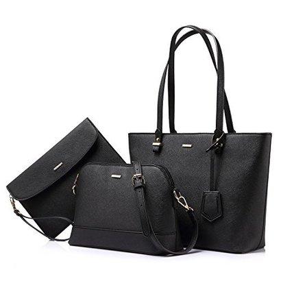lovevook 3 purses in set includes shoulder bag, messenger bag and wallet clutch