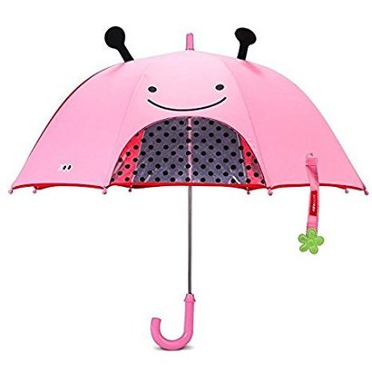 skip hop zoobrella little kid umbrella with peek-a-boo window and zoo raincoat