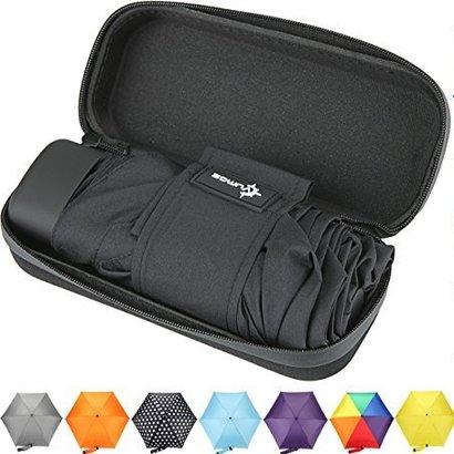 vumos small and compact lightweight travel umbrella includes waterproof carrying case