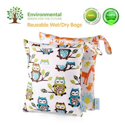 yarra modes reusable wet/dry bags 2 in 1 cloth diaper waterproof bag for wet and dry items with snap handle
