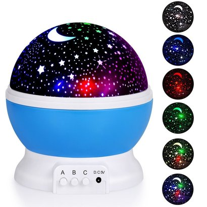 adoric night light projector, stars and moon night lamp with three buttons control, 4 led bulbs and 8 modes light great gift for girls and boys