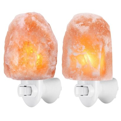 amir himalayan mini rock salt crystals lamp 2 pcs wall light with 2 bulbs