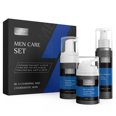 anjou men care set includes cleansing foam, after shave gel and men's body spray