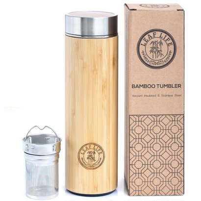 leaflife bamboo tumbler tea infuser and strainer of stainless steel and natural bamboo with vacuum insulated technology, 17 oz capacity