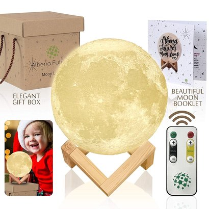 athena futures 3d printed moon lamp with wooden stand includes moon booklet, remote, usb charging cable in elegant gift box