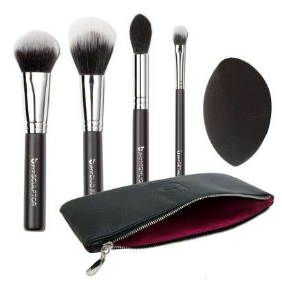 beauty junkees contour and highlighting makeup brush set includes makeup sponge and beautiful brush case for storage