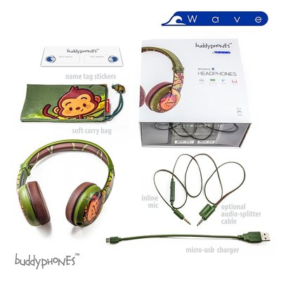 buddyphones wave wireless bluetooth headphones for kids with volume limited to 75, 85 or 94 dB, foldable and waterproof