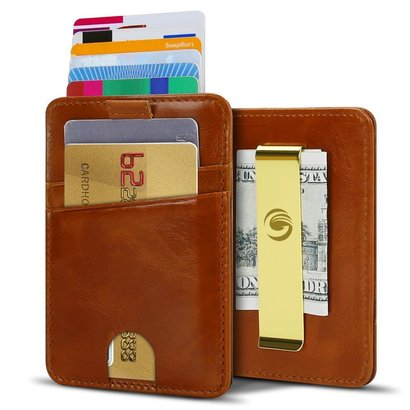 egrd men's minimalist genuine leather slim front pocket wallet with money clip and rfid blocking