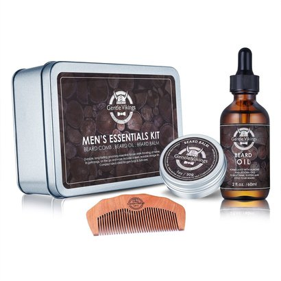 gentle vikings men's essentials kit includes beard balm, beard oil and wooden beard comb - exclusive gift set