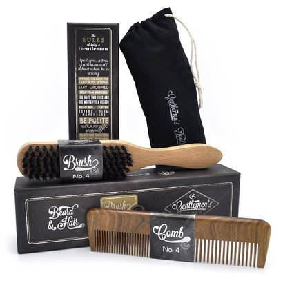 gentlemen's tools beard and hair set with boar bristle brush and beard sandalwood comb in gift box