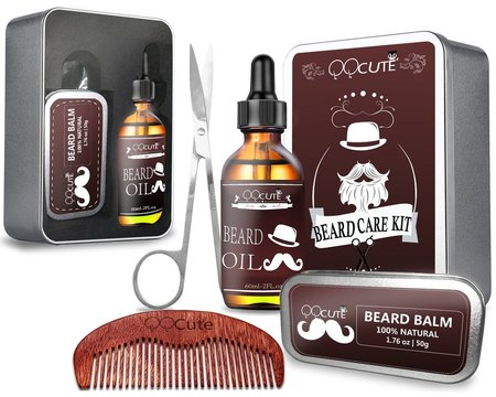qqcute beard grooming and trimming kit includes beard oil and balm, stainless steel scissors and heavy duty wooden comb in unique gift box