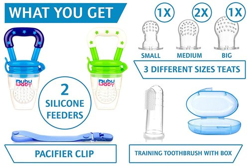 bububaby silicone feeder set includes 2 silicone feeder, 3 different size teats, pacifier clip and training toothbrush with box