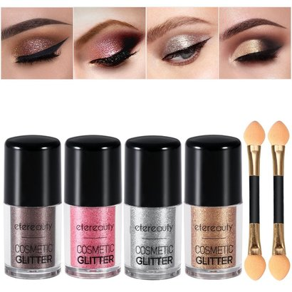 etereauty cosmetic glitter set 4 colors brilliantly sparkle eyeshadow makeup includes 2 eyeshadow brush