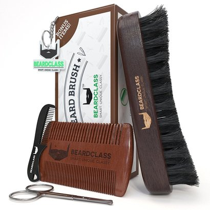 beardclass wooden beard brush beard care set with bonus items beard and mustache scissors, mustache comb, beard comb and key chain
